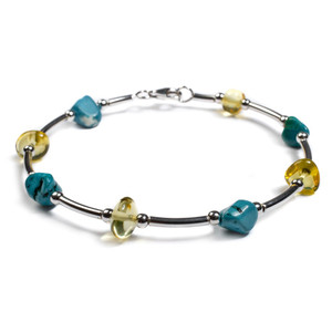 Henryka Turquoise & Yellow Amber And Silver Bead Tube Bracelet DC/525/TQY-C