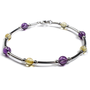 Henryka Amethyst & Yellow Amber And Silver Bead Tube Bracelet DC/525/AY-C