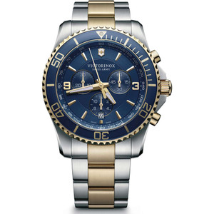 Victorinox Swiss Army Maverick Chronograph Blue Dial Two-Tone Bracelet Watch 241791