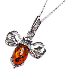 Henryka Bumble Bee Miniature Silver And Cognac Amber Pendant With Chain 2/0654/100/XS/C-BU