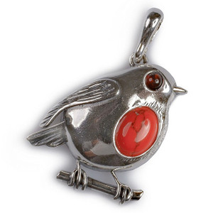 Henryka Rockin Robin Large Silver And Coral Pendant With Chain PH546/COR-COS-CH