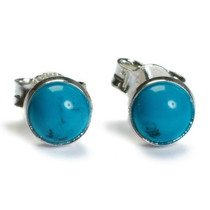 Henryka Form Round Silver And Turquoise Small Stud Earrings 1/1101/100/TQ-BU