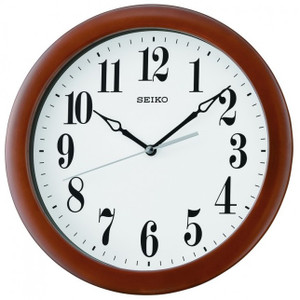 Seiko Brown Wooden Frame Wall Clock QXA674Z