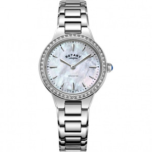 Rotary Women's Kensington Quartz Pink Mother Of Pearl Dial Austrian Crystals Bracelet Watch LB05275/07