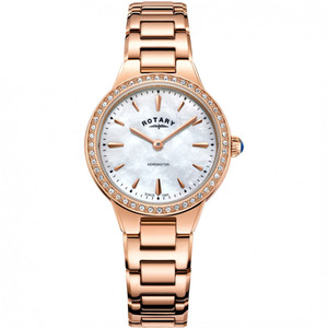 Rotary Women's Kensington Quartz PVD Rose Gold Plated Austrian Crystals Bracelet Watch LB05279/41