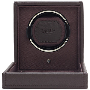 Wolf Cub Single Watch Winder With Glass Cover Brown Pebble Finish 461106
