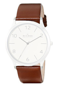Skagen Replacement Brown Leather Watch Strap 22mm For SKW6150 With Free Connecting Pins