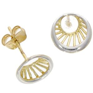 Fine Jewellery 9ct Yellow & White Gold Eye Studs Earrings 4109467