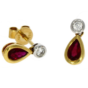 Fine Jewellery 18ct Yellow & White Gold Ruby & Diamond Pear Shaped Drops Earrings 4109473