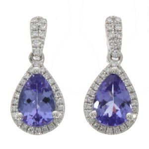 Fine Jewellery 18ct White Gold Tanzanite & Diamond Pear Shaped Cluster Drops Earrings 4109475