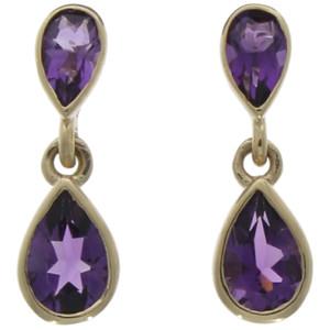 Fine Jewellery 9ct Amethyst Pear Shaped Double Drops Earrings 4109476