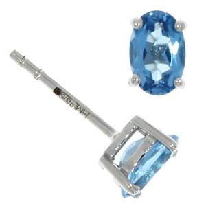 Fine Jewellery 9ct Blue Topaz Oval Claw 6x4mm Earrings 4109477
