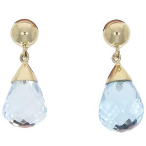 Fine Jewellery 9ct Yellow Gold Blue Topaz Pear Shaped Drop Earrings 4109481