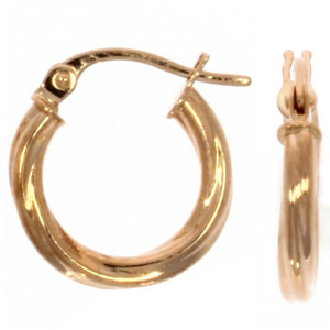 Fine Jewellery 9ct Rose Gold Twist Hoop 14mm Earrings 4109486