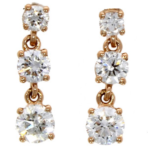 Fine Jewellery 18ct Rose Gold Diamond Claw Set Triple Drop Earrings 4109489