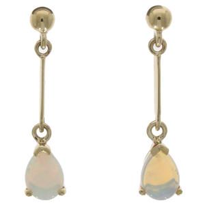 Fine Jewellery 9ct Yellow Gold Opal Pear Shape Claw Set Bar Drops 7x5mm Earrings 4109493