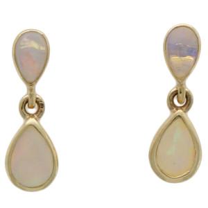 Fine Jewellery 9ct Yellow Gold Opal Double Pear Shape Drop Earrings 4109496