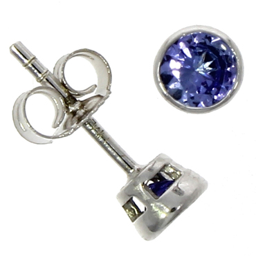 Fine Jewellery 9ct White Gold Tanzanite Round Rub Over 4mm Earrings 4109506