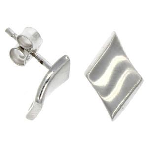 Fine Jewellery 9ct White Gold Concave Diamond Shape Stud Earrings 4109515