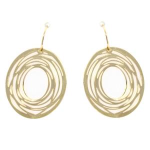 Fine Jewellery 9ct Yellow Gold Oval Flat Whirl Drop Earrings 4109520