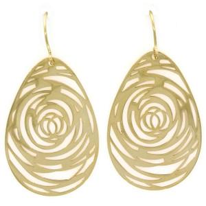 Fine Jewellery 9ct Yellow Gold Flat Whirl Drop Earrings 4109522