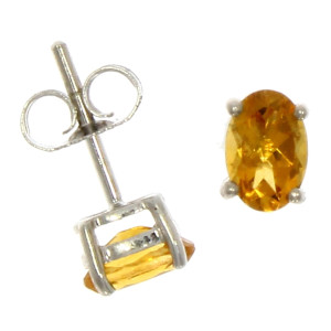Fine Jewellery 9ct White Gold Citrine Oval Claw Set 6x4mm Earrings 4109523