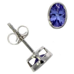 Fine Jewellery 9ct White Gold Tanznite Oval Rub Over Stud 6×4mm Earrings 4109527