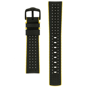 Hirsch Ayrton Carbon Embossed Performance Replacement Watch Strap Black/Yellow Leather