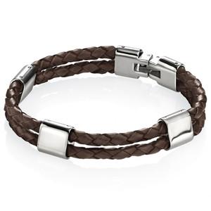 Fred Bennett Adventurer Men's Stainless-Steel Double Row Brown Leather 21.5cm Bracelet B3671