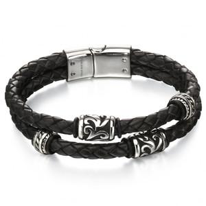 Fred Bennett Maverick Men's Stainless-Steel Black Leather Tribal Detail Bracelet B4980