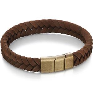 Fred Bennett Adventurer Men's Brushed Gold Ion Plated Stainless-Steel Brown Leather Bracelet B4985