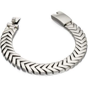 Fred Bennett New Gent Men's Polished Stainless-Steel Chevron Link 19cm Bracelet B4996
