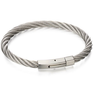 Fred Bennett Men's Stainless-Steel Twisted Wire Cable Bracelet B5053