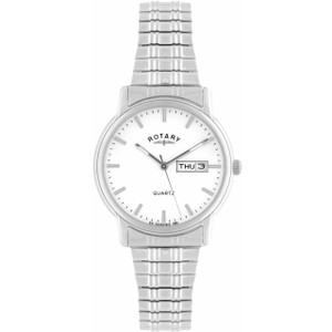 Rotary Men's Quartz White Dial Stainless-Steel Expandable Bracelet Watch GBI02762/02