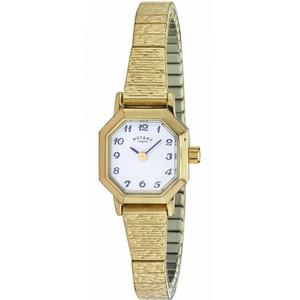 Rotary Women's Classic Quartz White Dial Gold Plated Expandable Bracelet Watch LBI00764/29