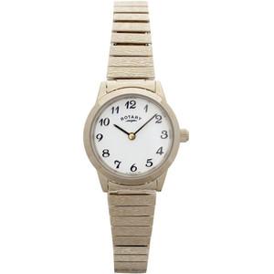 Rotary Women's Classic Quartz White Dial Gold Plated Expandable Bracelet Watch LBI00762