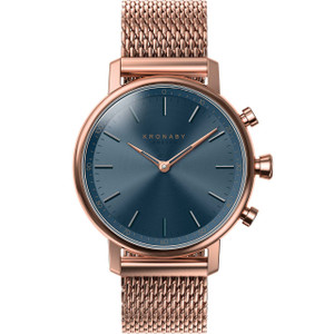 Kronaby Carat Bluetooth Steptracker Travel Rose Gold PVD Mesh Bracelet Hybrid Smartwatch A1000-0668