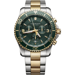 Victorinox Swiss Army Maverick Chronograph Green Dial Two-Tone Bracelet Watch 241693