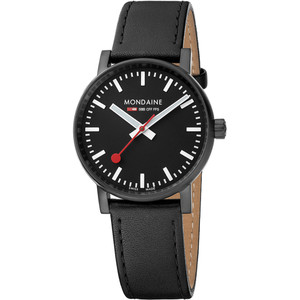 Mondaine Unisex Evo 2 Black Dial Leather Strap 35mm Swiss Railway Watch MSE.35121.LB