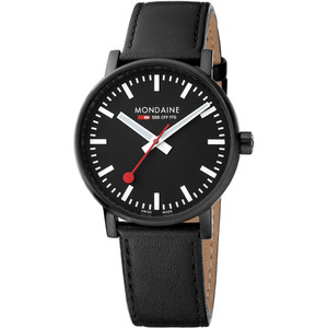Mondaine Men's Evo 2 Black Dial Leather Strap 40mm Swiss Railway Watch MSE.40121.LB
