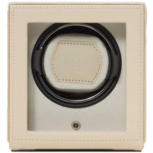 Wolf Cub Single Watch Winder With Glass Cover Cream Saffiano Finish 461153