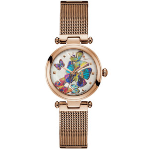 Gc Women's Purechic White Mother Of Pearl Butterfly Dial Rose Gold PVD Mesh Bracelet Watch Y31011L1