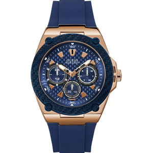 Guess Men's Legacy Quartz Blue Dial Silicone Strap Watch W1049G2