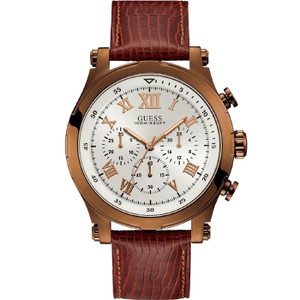 Guess Men's Anchor Chronograph White Dial Brown Leather Strap Watch W1105G2
