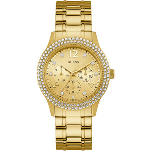 Guess Women's Bedazzle Crystal Set Gold Plated Stainless-Steel Bracelet Watch W1097L2