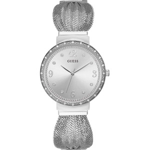 Guess Women's Chiffon Crystals Silver Dial Stainless-Steel Mesh Bracelet Watch W1083L1