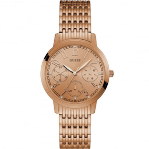 Guess Women's Lattice Rose Gold Dial Stainless-Steel Bracelet Watch W1088L2