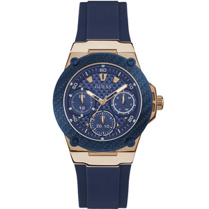 Guess Women's Zena Quartz Blue Dial Silicone Strap Watch W1094L2