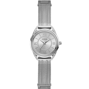 Guess Women's Whisper Crystals Silver Dial Stainless-Steel Mesh Bracelet Watch W1084L1