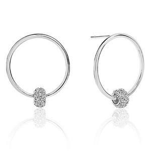 Sif Jakobs Lariano Silver Cubic Zirconia Circle Stud Hoop Earrings SJ-E0303-CZ